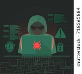 hacker activity banner.... | Shutterstock .eps vector #718265884