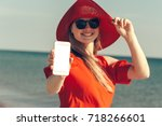 young beautiful blond woman...   Shutterstock . vector #718266601