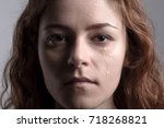 portrait of a redhead crying... | Shutterstock . vector #718268821