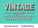 retro style 3d alphabet  vector ... | Shutterstock .eps vector #718269661