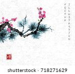 Pine Tree Branch And Sakura In...