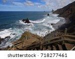 wild ocean benijo beach in...   Shutterstock . vector #718277461