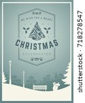 christmas greeting card or... | Shutterstock .eps vector #718278547
