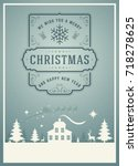 christmas greeting card or... | Shutterstock .eps vector #718278625