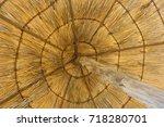 under a thatched umbrella   Shutterstock . vector #718280701