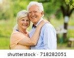 senior couple in park  | Shutterstock . vector #718282051