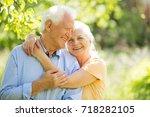 senior couple in park  | Shutterstock . vector #718282105
