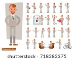 set of businessman character... | Shutterstock .eps vector #718282375