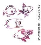 decorative fishes silhouette.... | Shutterstock . vector #718284769