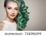 beauty fashion model girl with... | Shutterstock . vector #718286299