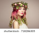 beauty fashion model girl with... | Shutterstock . vector #718286305