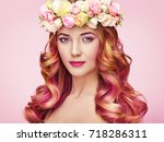 beauty fashion model girl with... | Shutterstock . vector #718286311