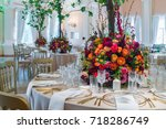 beautiful wedding flowers on... | Shutterstock . vector #718286749