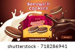 sandwich cookies ads  milk... | Shutterstock .eps vector #718286941