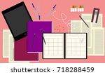 note book  tablet  earphones ...   Shutterstock .eps vector #718288459
