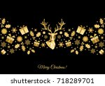 christmas pattern. golden  tree ... | Shutterstock .eps vector #718289701