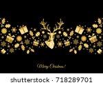 christmas pattern. golden  tree ... | Shutterstock .eps vector #718289701