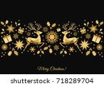 christmas  background. golden... | Shutterstock .eps vector #718289704