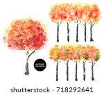 hand drawn autumn trees. bright ... | Shutterstock .eps vector #718292641