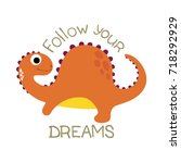 cute dinosaur vector... | Shutterstock .eps vector #718292929