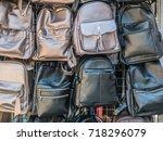 handmade leather backpacks and... | Shutterstock . vector #718296079