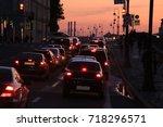 evening traffic | Shutterstock . vector #718296571