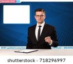 television reporter telling... | Shutterstock . vector #718296997