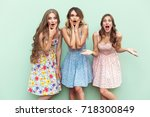 wow  no way   sexy long haired... | Shutterstock . vector #718300849