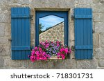 traditional window with... | Shutterstock . vector #718301731
