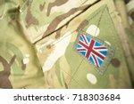 union jack   union flag badge... | Shutterstock . vector #718303684