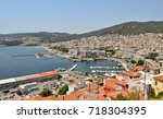 view to the port and downtown... | Shutterstock . vector #718304395