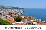 landscape of seaside town of... | Shutterstock . vector #718304401