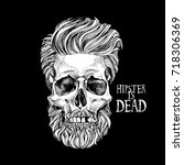 skull with a hairstyle  beard ... | Shutterstock .eps vector #718306369