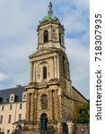 notre dame en saint melaine... | Shutterstock . vector #718307935