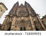 st. vita s cathedral in prague... | Shutterstock . vector #718309051