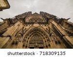 st. vita s cathedral in prague... | Shutterstock . vector #718309135