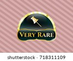 gold shiny emblem with paper... | Shutterstock .eps vector #718311109