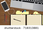 office desk table with laptop ...   Shutterstock .eps vector #718313881