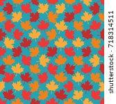 autumn maple leaves seamless... | Shutterstock .eps vector #718314511