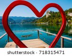 installation heart by the lake... | Shutterstock . vector #718315471