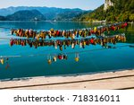 locks of love by the bled lake  ... | Shutterstock . vector #718316011