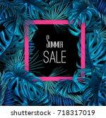 summer sale banner layout.... | Shutterstock .eps vector #718317019