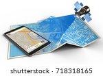 3d illustration of city map... | Shutterstock . vector #718318165