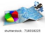 3d illustration of city map... | Shutterstock . vector #718318225