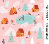 winter snowing christmas... | Shutterstock .eps vector #718320457