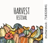 harvest festival hand drawing...   Shutterstock .eps vector #718320841