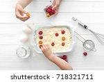 children decorate the cottage...   Shutterstock . vector #718321711