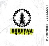 survival gear outdoor adventure ... | Shutterstock .eps vector #718322017