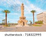 izmir clock tower. the famous... | Shutterstock . vector #718322995