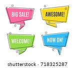 flat linear promotion ribbon... | Shutterstock .eps vector #718325287
